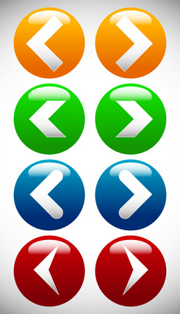 arrowheads: Set of colorful icons with arrows, arrowheads. editable vector.