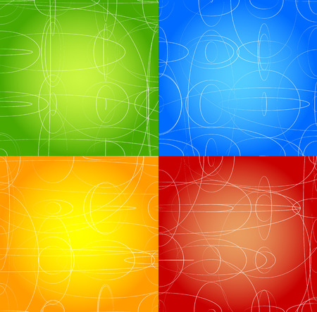 green backgrounds: Abstract background set in four colors. Green, blue, orange, red and yellow vector backgrounds with white shapes.