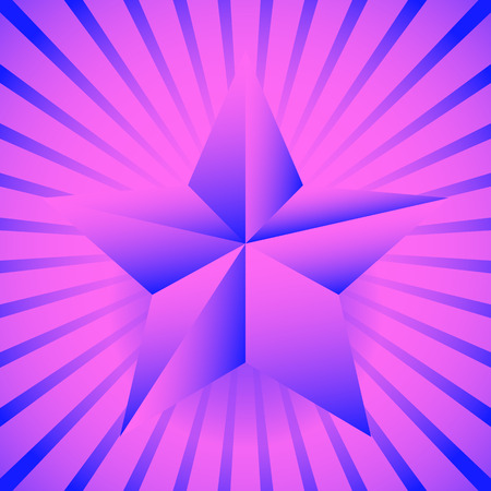 3d star: Background with 3d star and bursting rays, beams.