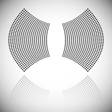 distortion: Distortion effect on mesh of squares with reflection. Abstract vector element. Illustration