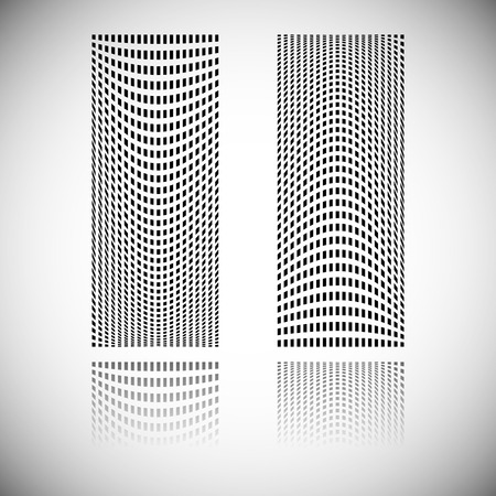 blocky: Distortion effect on mesh of squares with reflection. Abstract vector element. Illustration
