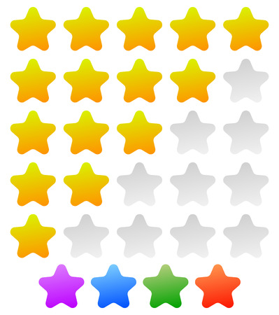valuation: Star rating graphic element for valuation, review, classification concepts. Vector.