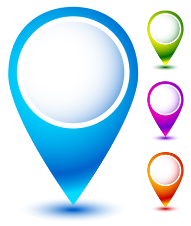 adress: Set of colorful map markers, map pins Illustration