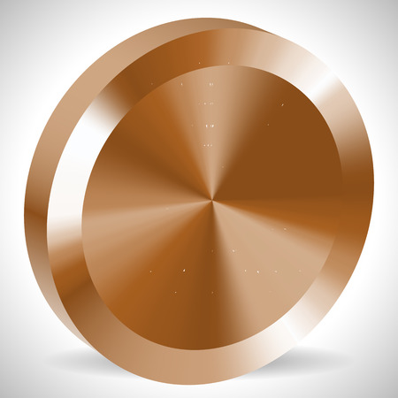 conical: Bronze blank 3d metallic coin with conical  gradient mesh fill