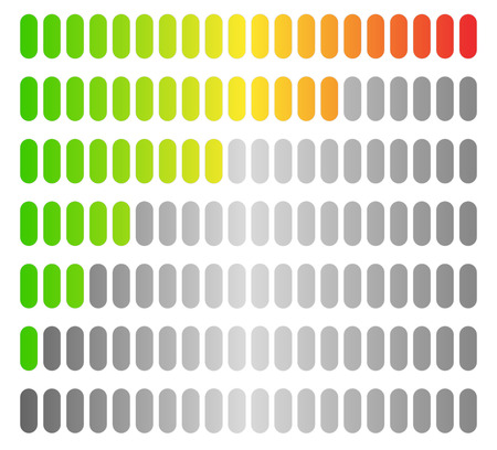 Colored progress bars, progress, strength indicators. vector