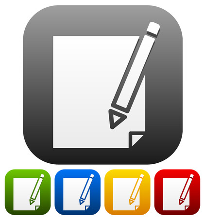 writing instruments: Pencil symbol on background(s) in four color. Illustration