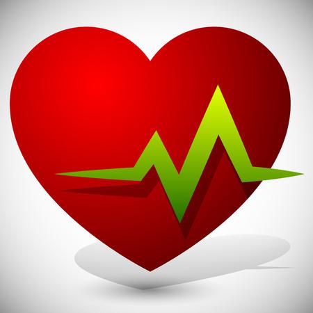 cardiovascular workout: Heart with ECG line for cardio, heart health themes