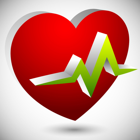 heart monitor: Heart with ECG line for cardio, heart health themes