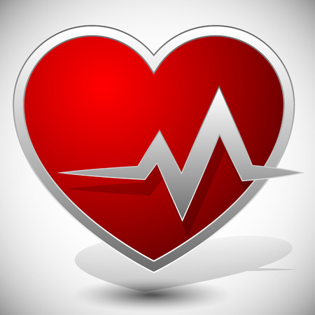 heart health: Heart with ECG line for cardio, heart health themes