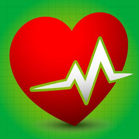 cardio: Heart with ECG line for cardio, heart health themes
