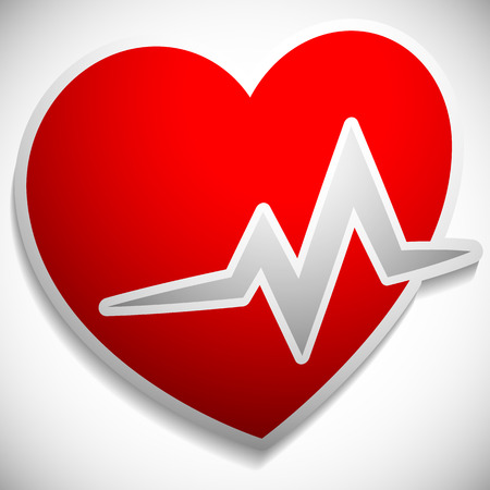 heartrate: Heart with ECG line for cardio, heart health themes
