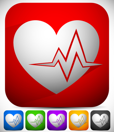 stamina: Heart with ECG line for cardio, heart health themes