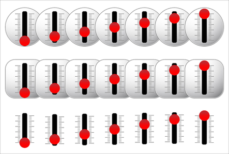 overdrive: Vertical sliders with red knobs. vector