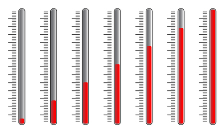 increments: Vertical sliders with red knobs. vector