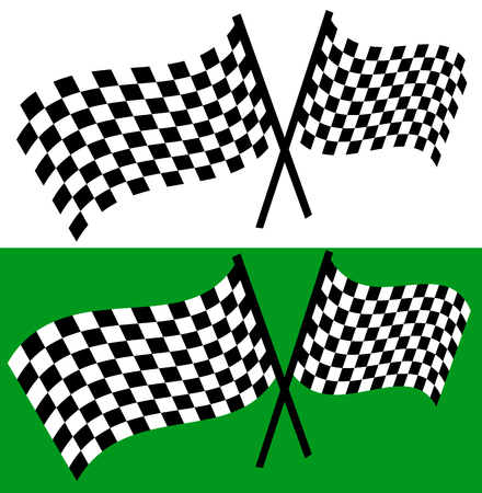 Crossed waving checkered racing flags. editable vector Illustration