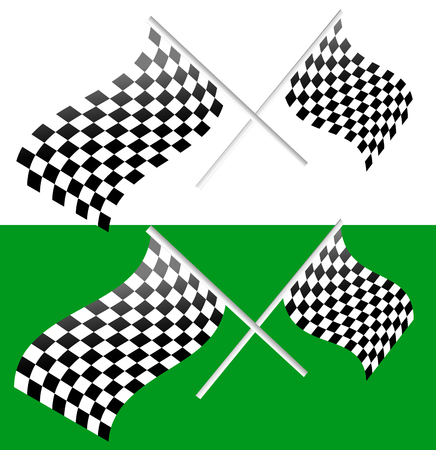 checked flag: Crossed waving checkered racing flags. editable vector Illustration