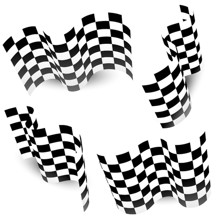 grand prix: Checkered (chequered) racing flag isolated on white