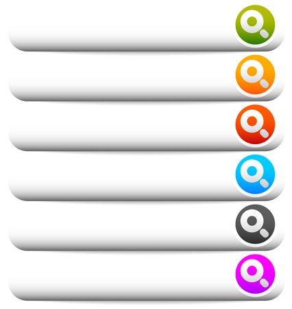 magnyfying glass: Blank horizontal button templates with magnifier glass symbol. Search buttons.