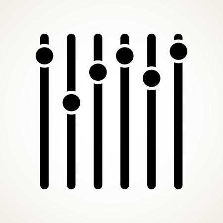 potentiometer: Vertical sliders, faders, potentiometers. vector symbol  Illustration
