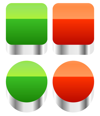 green power: Red, green push buttons or power buttons.