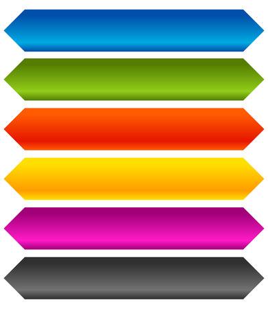 ten empty: Horizontal banner, button background. Set of 6 colors.