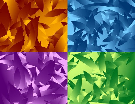 fragmentation: Abstract digital art background. Set of 4 versions and colors. Illustration