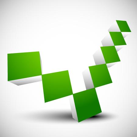 confirmacion: Marca de verificación verde, signo de la garrapata. Correcto, correcto, la confirmación, la afirmación. Vectores