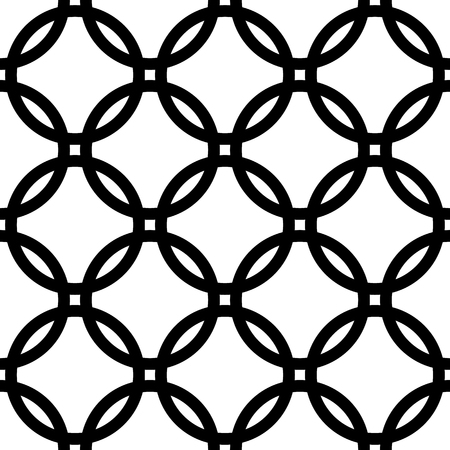 interlace: Interlocking circles. Repeatable, monochrome vector pattern, background.