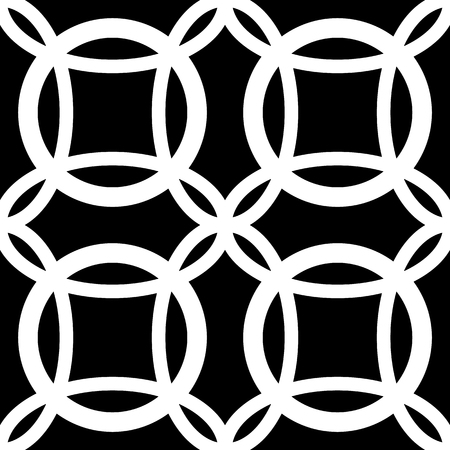 circles pattern: Interlocking circles. Repeatable, monochrome vector pattern, background.