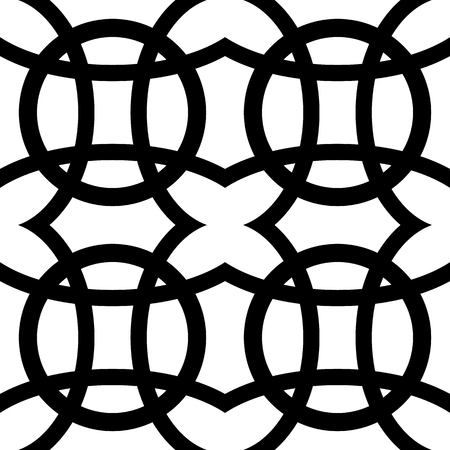 intersect: Interlocking circles. Repeatable, monochrome vector pattern, background.