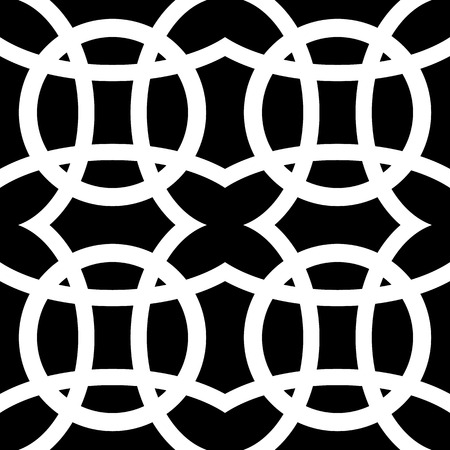 repeatable: Interlocking circles. Repeatable, monochrome vector pattern, background.