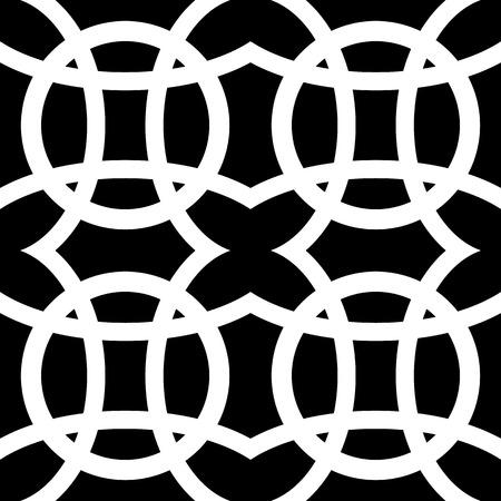 repeatable: Interlocking circles. Repeatable, monochrome vector pattern, background.