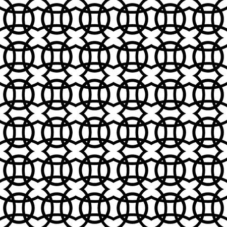 interlocking: Interlocking circles. Repeatable, monochrome vector pattern, background.