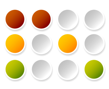 rules of road: Traffic lights, lamps, traffic signals. Semaphore icons isolated on white.