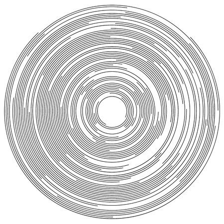 following: Concentric segments of circles, random lines following a circle path.