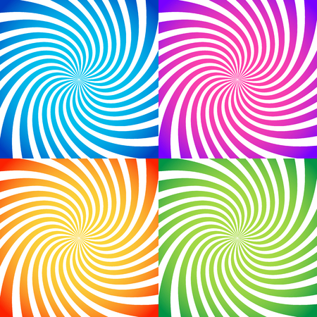 spiral: Set of colorful abstract backgrounds in vivid colors. Vector.