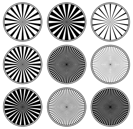 radiating: Vector set of radiating, converging lines. Set of 9 version,