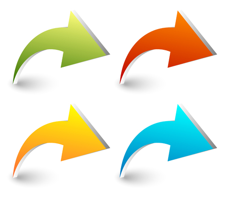 curved: 3d curved, bent arrows in four colors Illustration