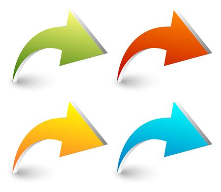 flechas curvas: 3d flechas curvas, doblado en cuatro colores