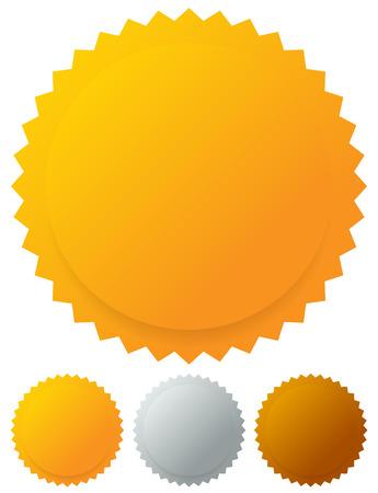 golden star: Gold silver bronze medals, badges. Vector graphics. Illustration