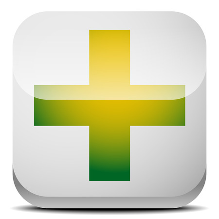 pharma: Green cross sign for first aid, healthcare, support concepts. Illustration