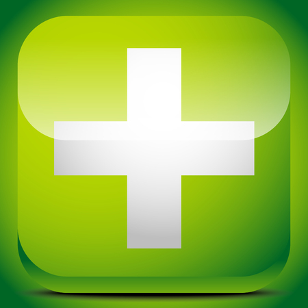 polyclinic: Green cross sign for first aid, healthcare, support concepts. Illustration