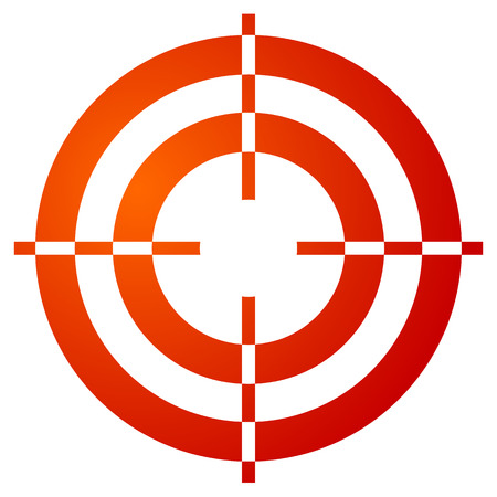 reticle: Colored crosshair, reticle, target mark shape on white