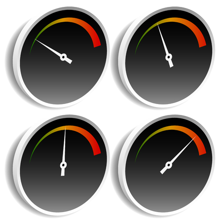 yard stick: Circle dial, gauge template. Editable vector illustration.
