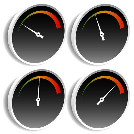 yard stick: Circle dial, gauge template. Editable vector illustration.