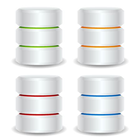 Metallic cylinders. Hard disk drive, HDD, server, hosting, database concept
