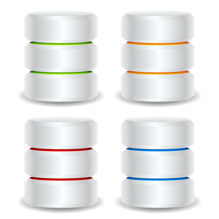 Metallic cylinders. Hard disk drive, HDD, server, hosting, database concept