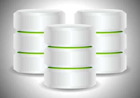databank: Metallic cylinders. Hard disk drive, HDD, server, hosting, database concept