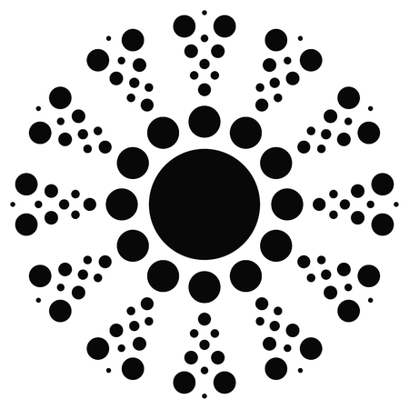 centric: Dotted motif. Bursting, concentric circle element. Vector. Illustration