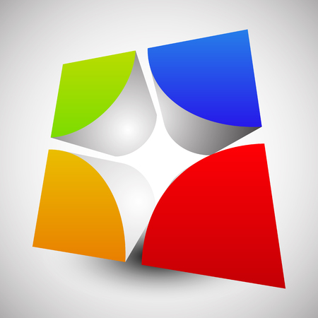 the divided: Divided, colorful cube with rounded inner corners. Abstract 3d vector graphics.